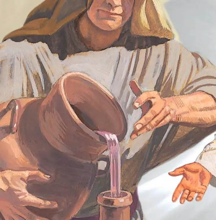 Ilustración de un hombre trasvasando vino de una metreta a un ánfora.
