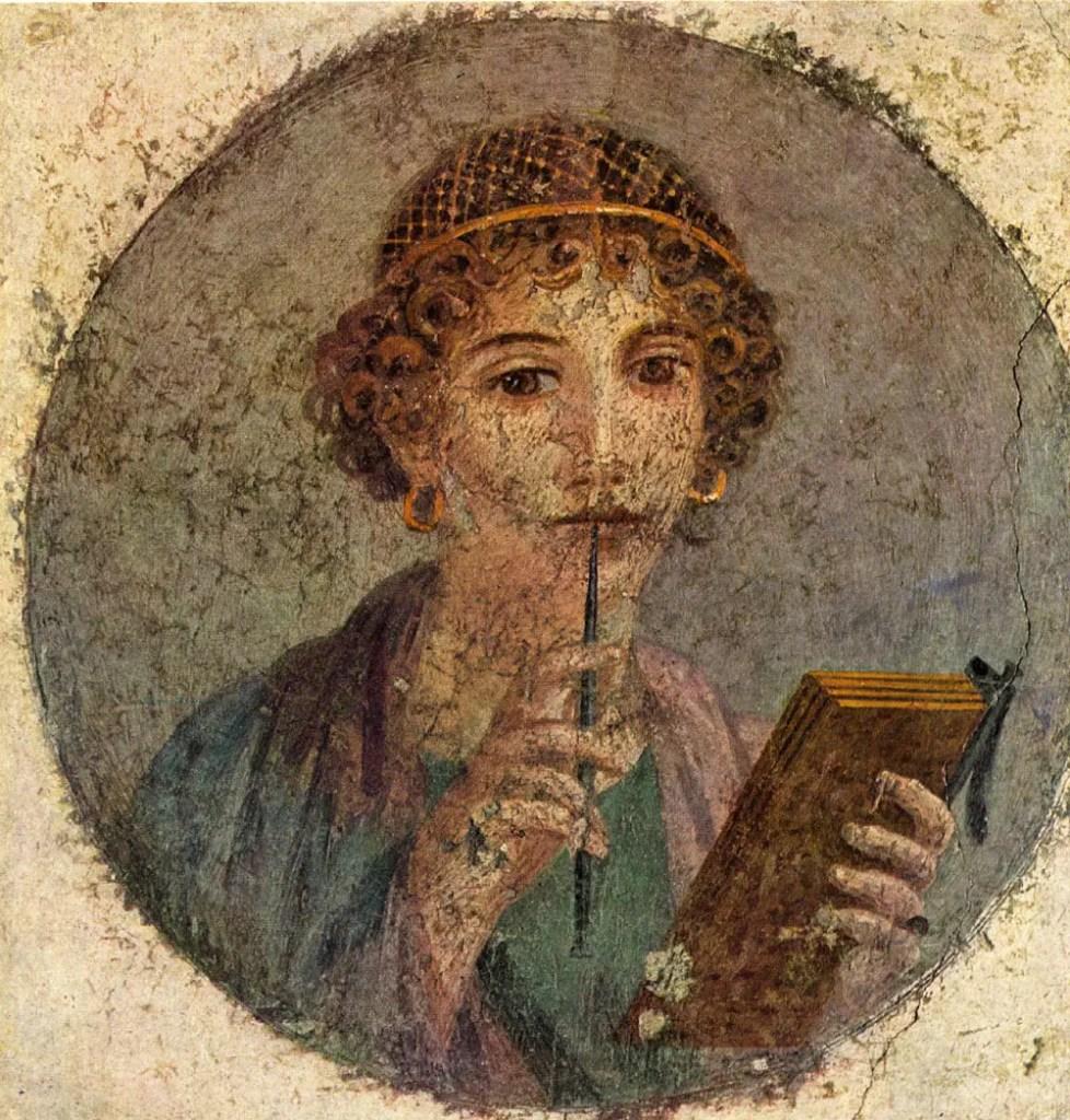 Fresco de una poetiza hallado en los restos de Pompeya en el año 1760. El fresco muestra a una mujer romana utilizando un peinado rizado y una red para el cabello.