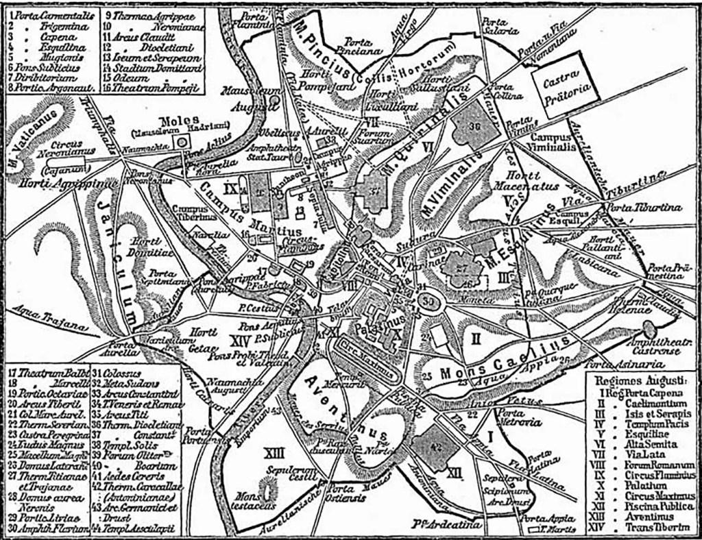 Mapa de la Roma de Octavio Augusto.