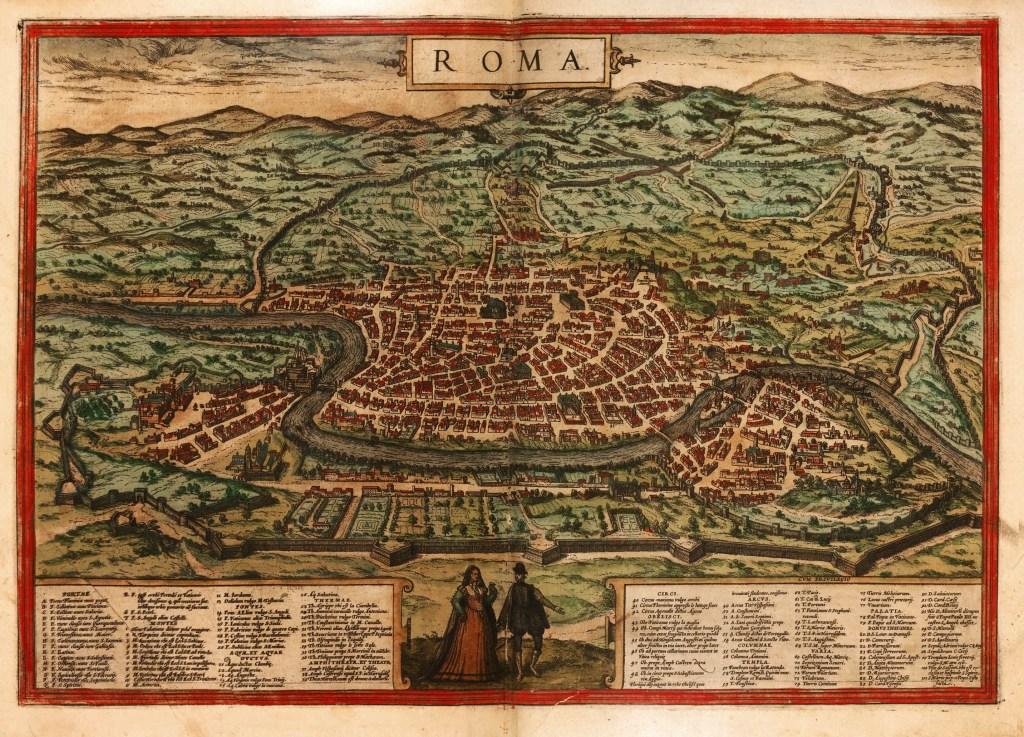 Mapa de la ciudad de Roma en el siglo VI.