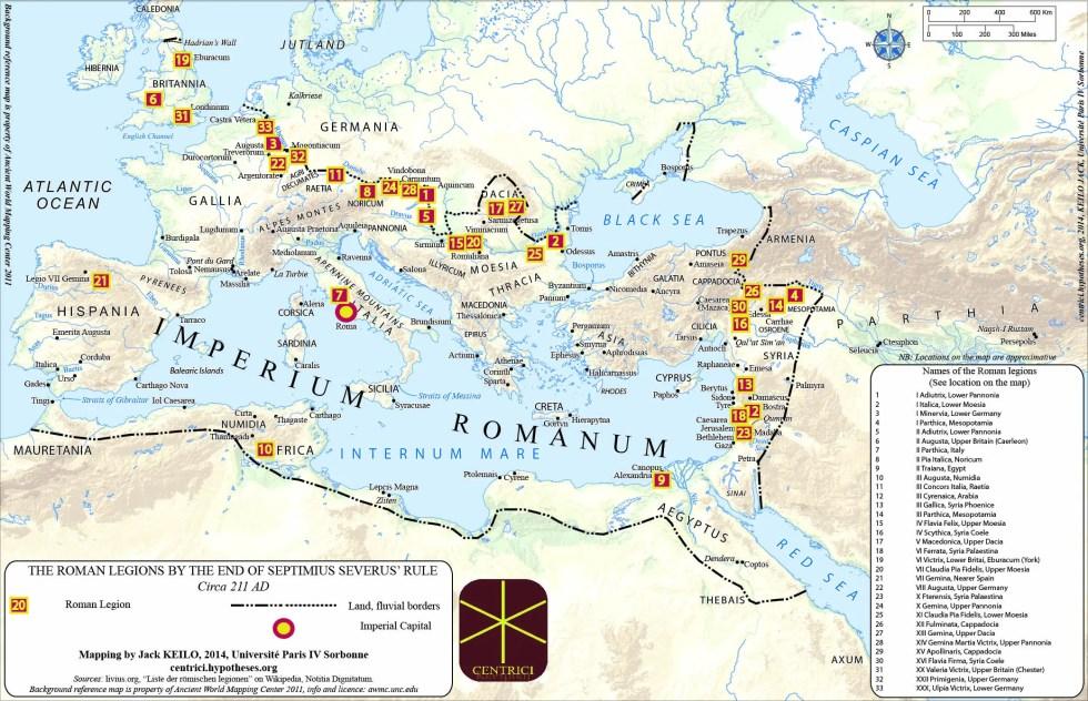 Mapa del despliegue de las legiones romanas fronterizas alrededor del año 212 d. C.