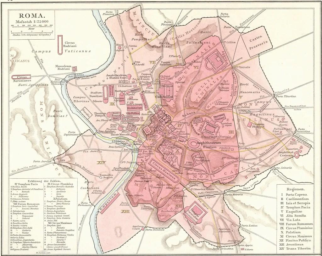 Mapa de las murallas de Roma