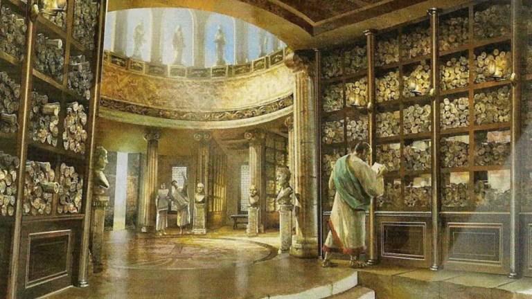 Biblioteca de papiros romana.