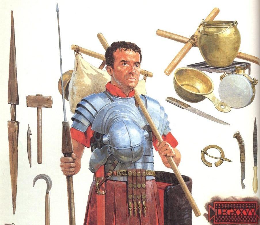Legionario romano sosteniendo una furca. En la imagen vemos algunos de los utensilios comunes al bagaje del legionario.