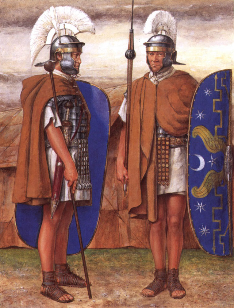 Optio pretoriano inspeccionando a un guardia de campamento.