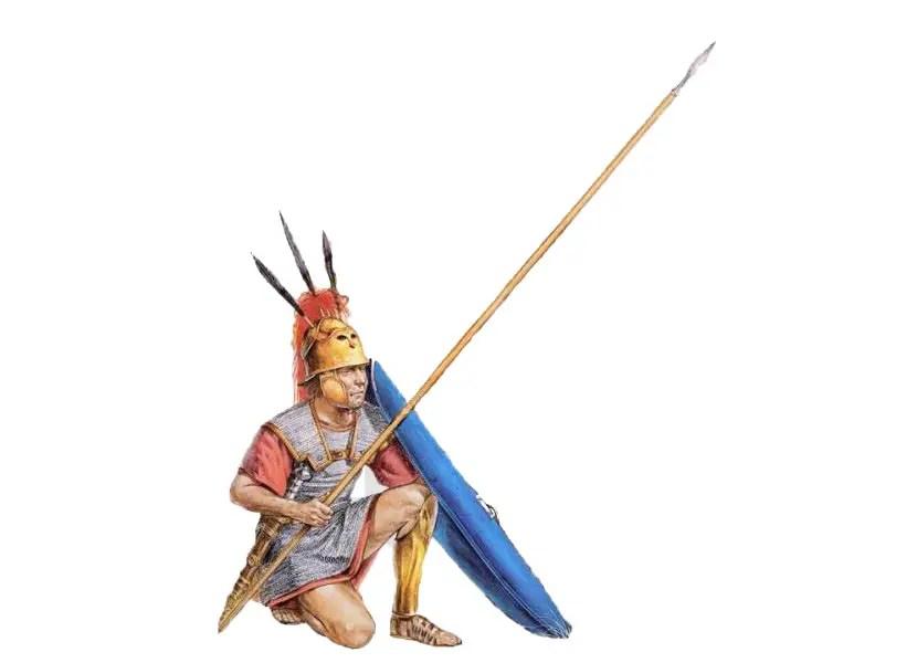 Triarius arrodillado mientras se disputa la batalla entre las dos líneas frontales.