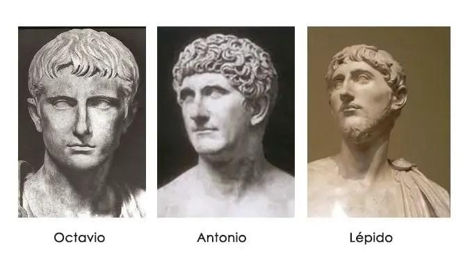 Estatuas de Octavio, Antonio y Lépido.