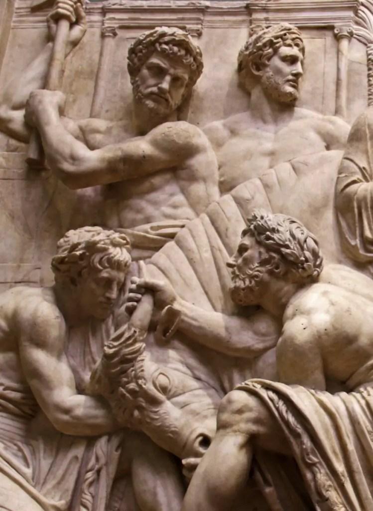 Sacrificio de un buey, uno de los rituales más comunes llevados a cabo por el Pontifex maximus.
