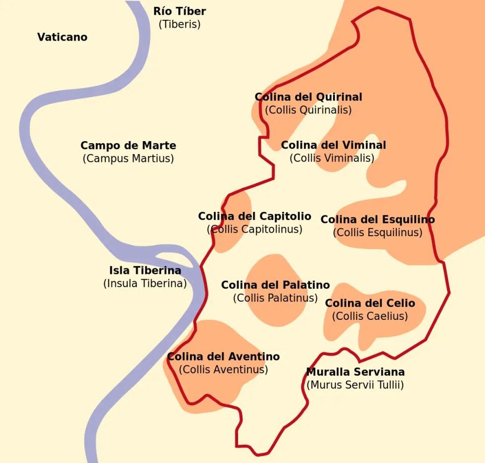 Detalle de las siete colinas de Roma y el área delimitada por las Murallas Servianas.