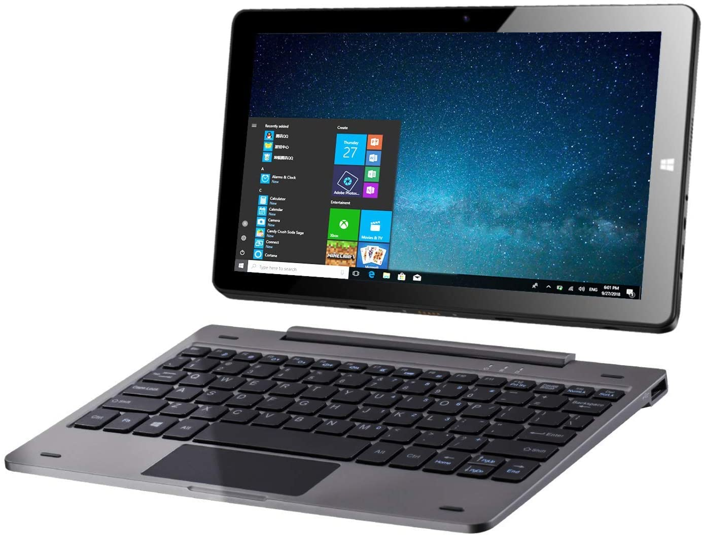 10.1 Windows 10 Tablet PC 2 in 1 laptop touchscreen, Intel Quad core 1,44 Ghz / 4 GB RAM + 64 GB layout US QWERTY / IPS / Doppia fotocamera / MicroMobile Office / Wi-Fi / Bluetooth 4.0 / USB / HDMI