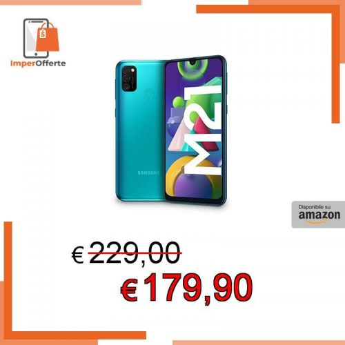 Samsung Galaxy M21, Smartphone, Display 6.4″ Super AMOLED, 3 Fotocamere Posteriori, 64GB Espandibili, RAM 4 GB, Batteria 6000 mAh, 4G, Dual Sim, Android 10, 188 g, [Versione Italiana], Green