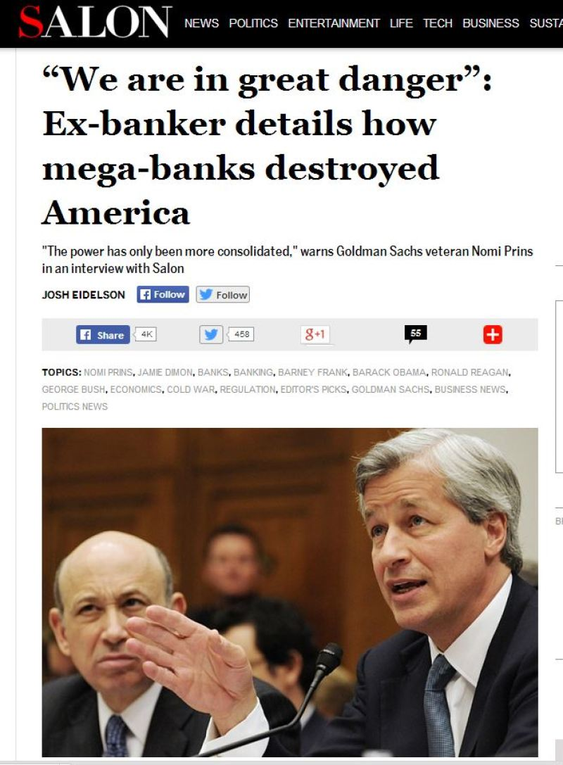 """""""The power has only been more consolidated,"""" warns Goldman Sachs veteran Nomi Prins in an interview with Salon"""