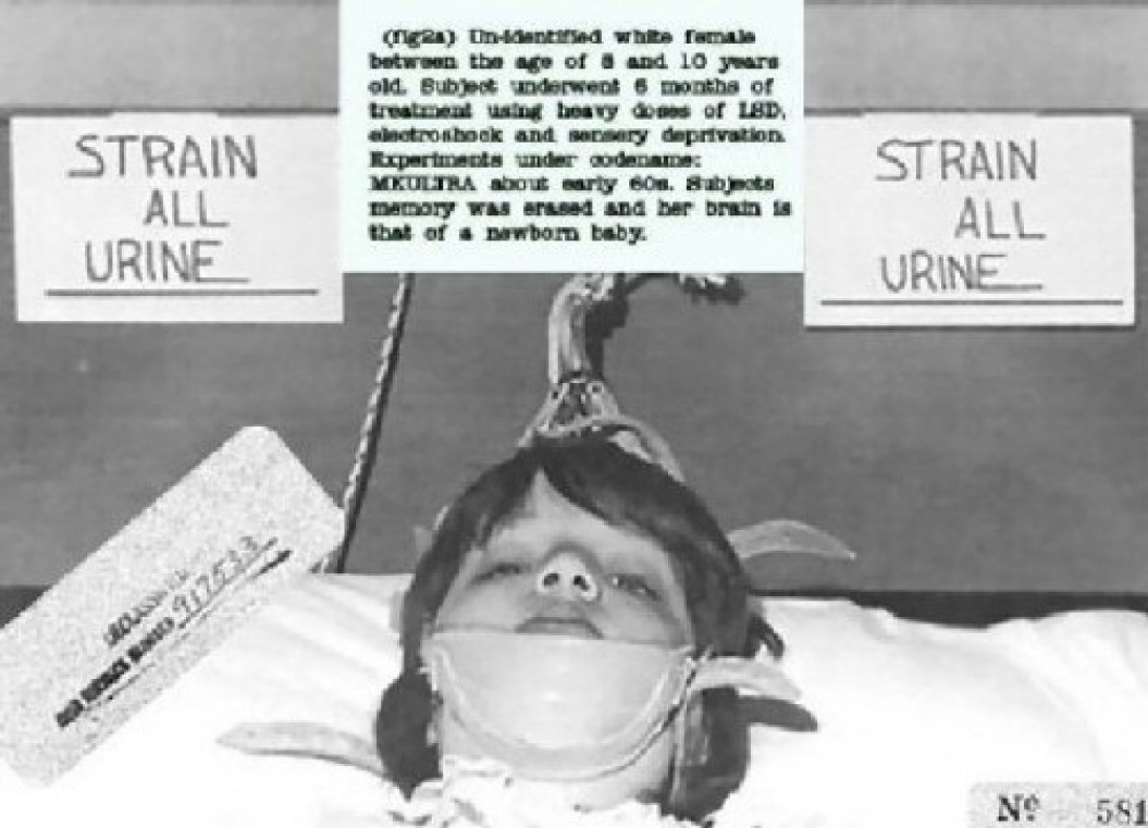 A CIA MKULTRA subject that underwent 6 months of ECT, heavy doses of LSD, and sensory deprivation. She is an 8-10 year-old with the brain of a newborn baby.