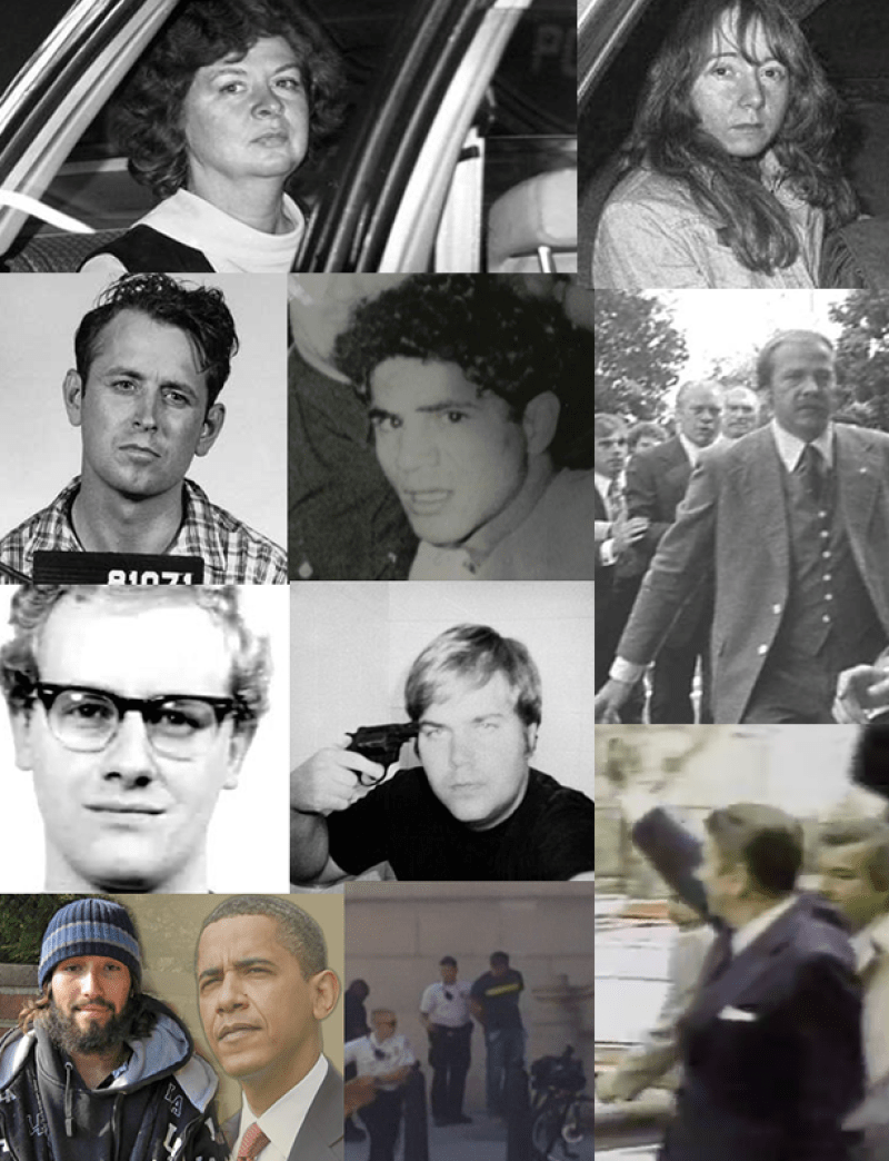 Lone nuts with remarkable access then and now: James Earl Ray, Sirhan Sirhan, Arthur Bremer, John Hinkley. In lower inset is Oscar Ortega, a recent shooter who believes Obama is the Antichrist, a belief literally promulgated in the Christian Zionist right-wing media since day one. In handcuffs a White House intruder, Omar Gonzalez, who jumped over the fence with a knife and made it into the interior, the Green Room.