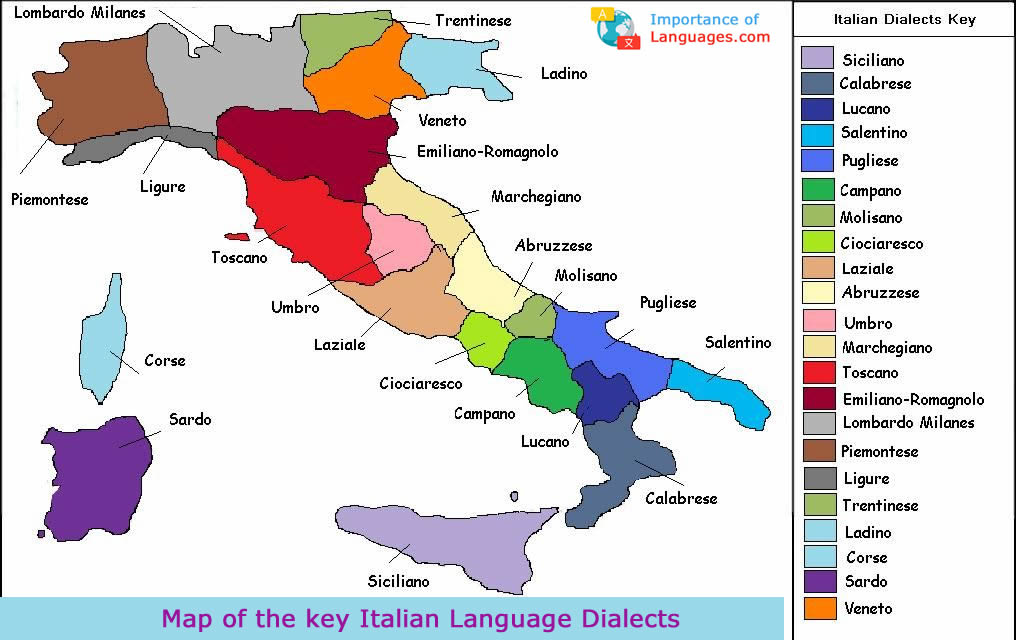 Map of the key Italian Language Dialects