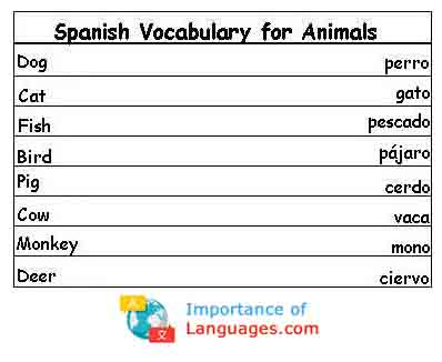 Spanish Words for Animals