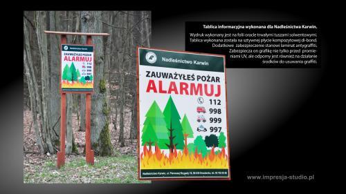 Tablica informacyjna wykonana dla Nadleśnictwa Karwin