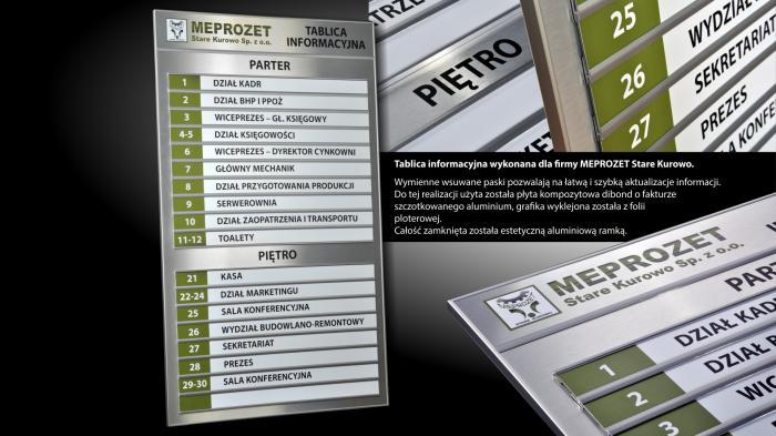 Tablica informacyjna dla firmy MEPROZET Stare Kurowo