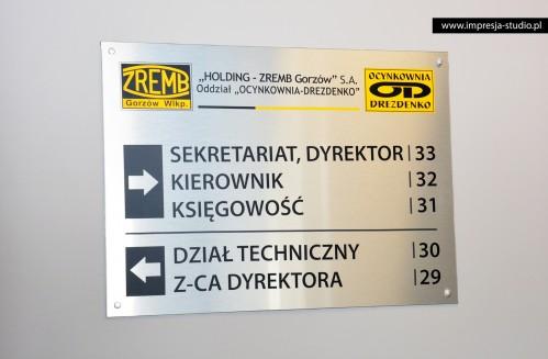 Oznakowanie biur, tabliczka - ZREMB, Ocynkownia Drezdenko