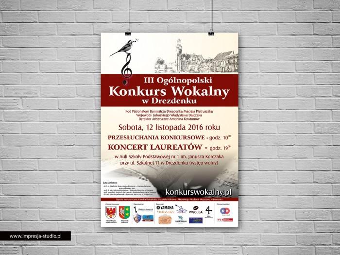 Plakat III Ogólnopolski Konkurs Wokalny w Drezdenku