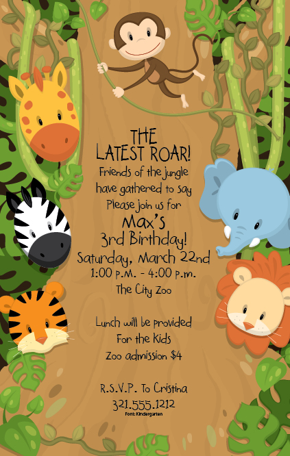 Baby Shower Invitations Jungle Animal Theme