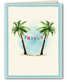 Stationery Amp Notecards NOTE CARDS Tropical Beach Palm Tree Party Banner Thank You