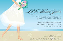 This Lovely Invitation Features A Barefoot Bride With Pink Bouquet Gracefully Walking Across The Sandy Beach Against Pale Blue Sky