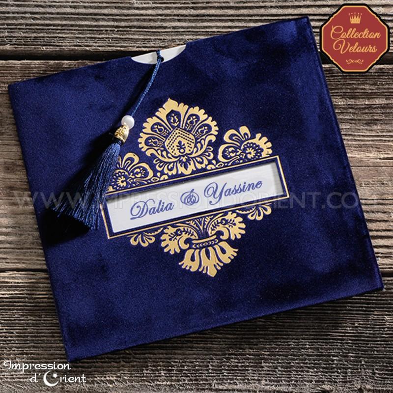 faire part mariage velours bleu et arabesques or