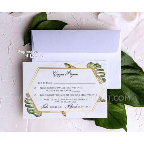 coupon reponse mariage theme tropical