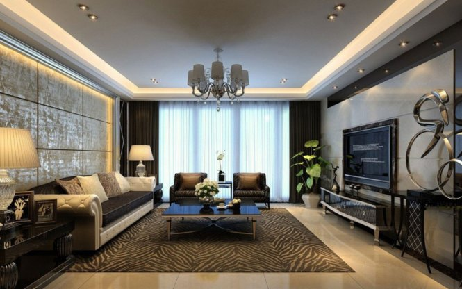 Large Trendy Modern Living Room Decorating Rectangular Interior Design Ideas Full