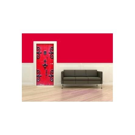 sticker decor de porte rouge