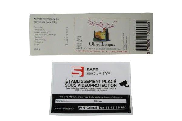 Étiquettes adhésives velin blanc et PVC vinyle à Narbonne