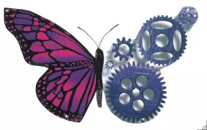 Picture that inspired my logo, 1/2 butterfly, 1/2 gears