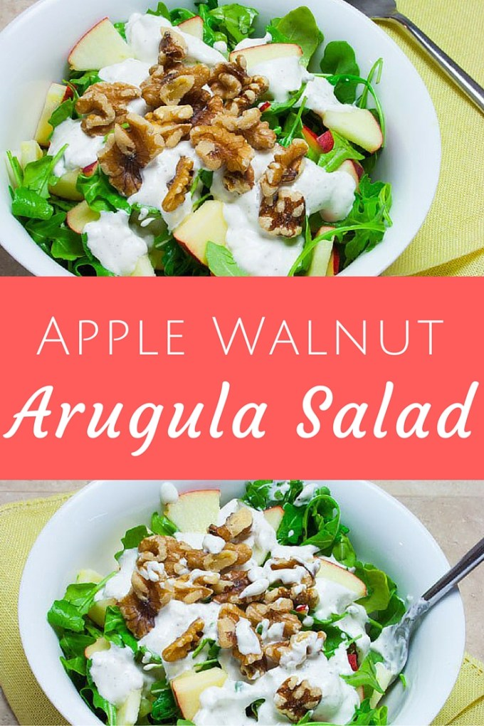 Apple Walnut Arugula Salad with Creamy Lemon Dressing