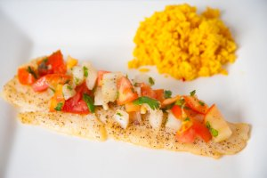 How To Bake Flounder Fillets Recipe with Tomato Salad