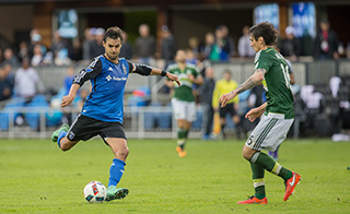 San Jose, California - March 13, 2016: The San Jose Earthquakes defeated Portland Timbers 2-1 at Avaya Stadium. Wondolowski is in blue.