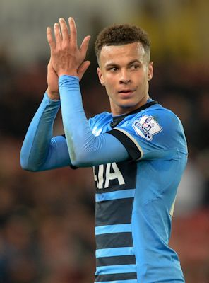 Dele Alli applauds to fans when leaving match between Tottenham Hot Spurs and Stoke City on April 18, 2016.