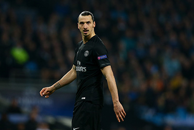 Zlatan Ibrahimovic of Paris Saint-Germain during the UEFA Champions League Quarter Final Second Leg match between Manchester City and Paris Saint-Germain played at The Etihad Stadium, Manchester on April 12th 2016