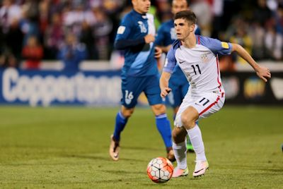 Columbus, OH - March 29, 2016: The U.S. Men's National team defeat Guatemala 4-0 in World Cup Qualifying play at MAPFRE Stadium.