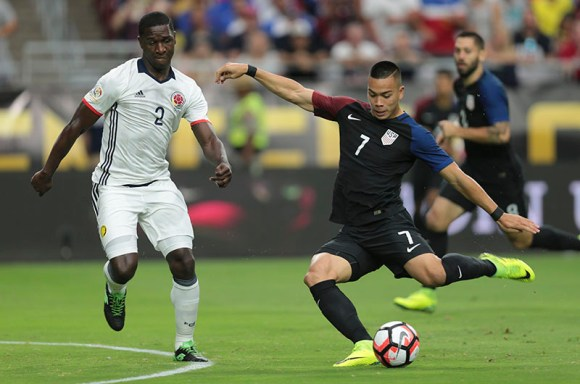 Forward Bobby Shou Wood let's one rip for the only serious shot on goal the USMNT had during the June 25th match against Colombia in Glendale, AZ. Wood will more than likely return play for Hambruger SV in the coming months. Photo by John Dorton.
