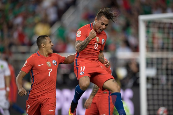 Eduardo Vargas (11) of Chile celebrates after scoring against Mexico in the Copa America Centenario on June 18, 2016. Vargas scored one more than a hat trick (4 goals) during the slaughter against Mexico. Photo by David Leah.