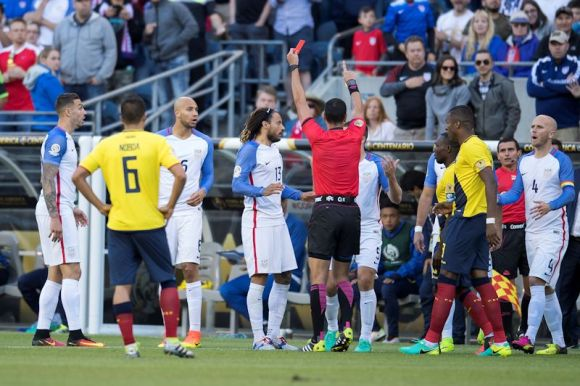 Jermaine Jones (13) started the match on June 16th with a yellow card. When Jones put his hand in the Ecuadorian's face, Referee Wilmar Roldan held up a yellow and then a red card to boot Jones from the Century Link pitch. Jones cannot play in the next match either. Photo by Omar Martinez.