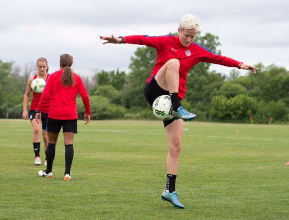 Megan Rapinoe warms up on July 7, 2016 in Chicago, Illinois. At this point, it is not clear whether Rapinoe, an integral part of the USWNT, will play in the Rio Olympics. Photo courtesy of Brad Smith.
