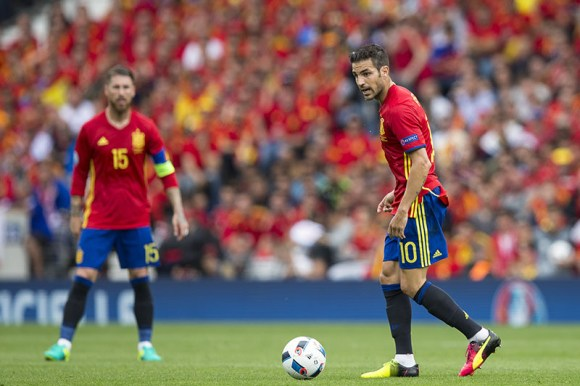 Cesc Fabregas of Spain during the UEFA Euro 2016 Group D match between Spain and Czech Republic played at The Stadium de Toulouse, Toulouse, France on June 13th 2016