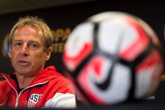 Jurgen Klinsmann speaks to the press before the Argentina vs. USA match during the CONCACAF Centenario 2016. Photo by Javier Ramirez.