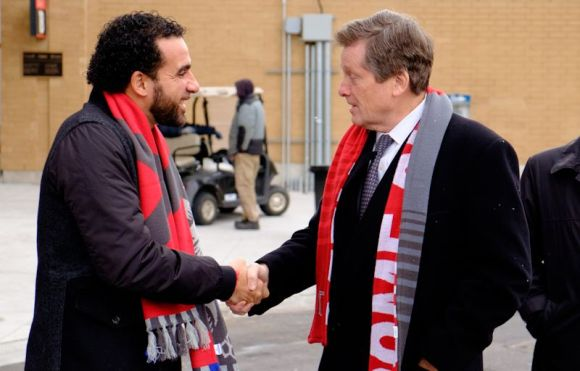 Toronto, ON, Canada - Thursday Dec. 08, 2016: Dwayne De Rosario, Toronto mayor John Tory during a press conference prior to MLS Cup at BMO Field.