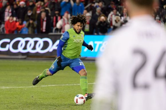 Ramon Torres Scored the Winning PK to clinch the MLS Cup Championships for Seattle Sounders on December 10, 2016 at BMO stadium in Toronto, CANADA.  Photo by Howard C. Smith.