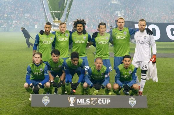 Toronto, ON, Canada - Saturday Dec. 10, 2016: Seattle Sounders FC Starting Eleven during the MLS Cup finals at BMO Field. The Seattle Sounders FC defeated Toronto FC on penalty kicks after playing a scoreless game. Photo by Howard C. Smith.