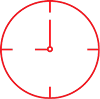 red icon of a clock