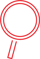red icon of a magnifying glass